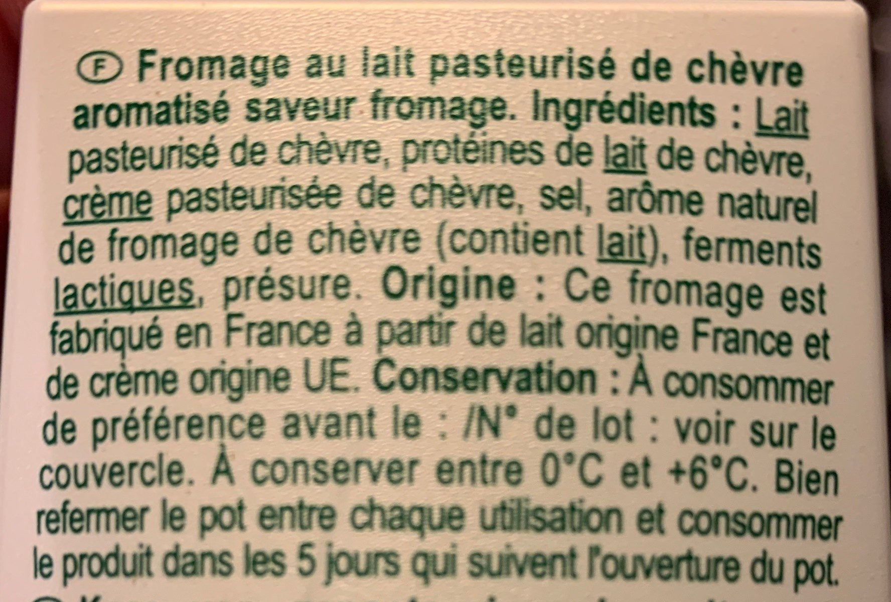Fromage de chèvre - Ingrédients