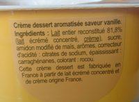 Crème dessert aromatisée saveur vanille - Ingrediënten