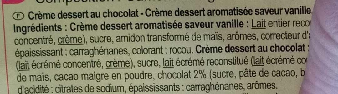 Crème dessert 6 Chocolat 6 Saveur Vanille - Ingredients - fr