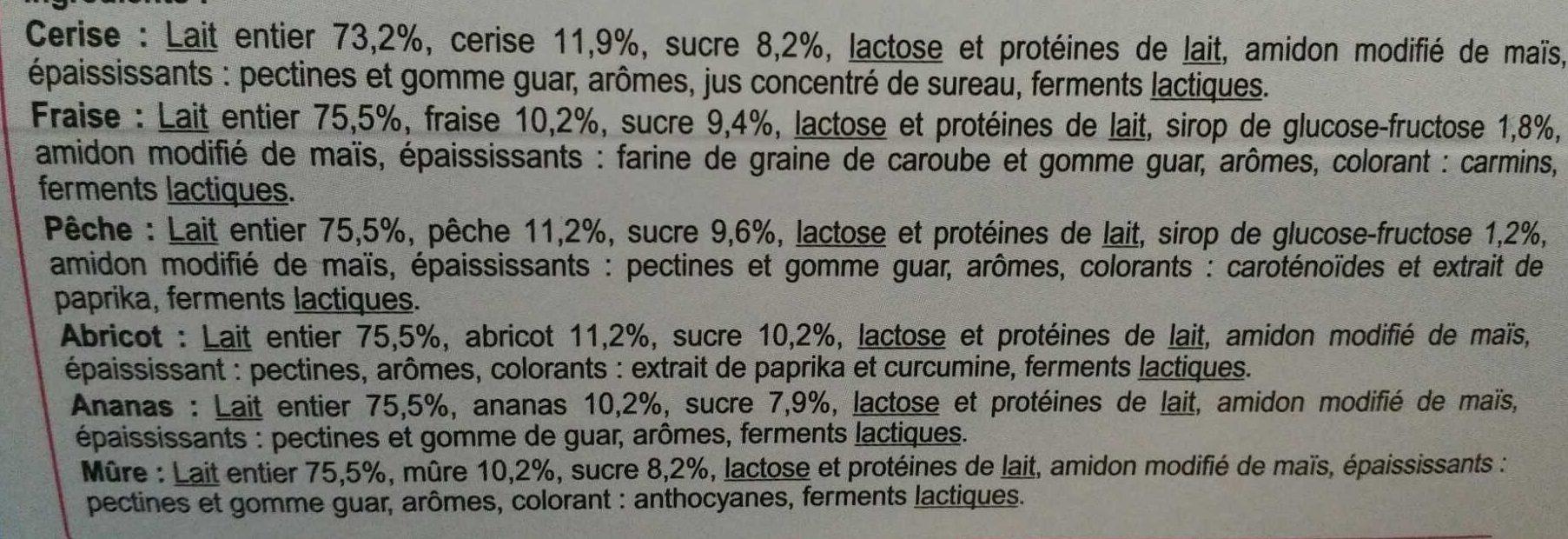 Yaourts Aux Fruits - Ingredienti - fr
