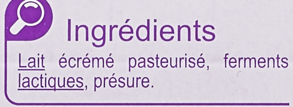 Fromage Blanc Nature 0% - Ingrédients - fr