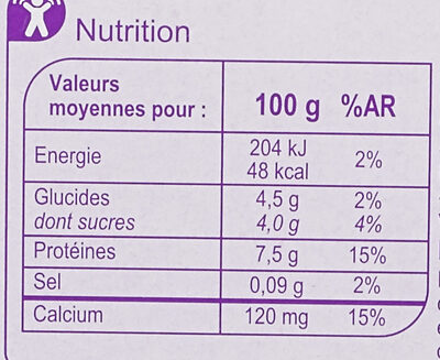 Fromage Blanc Nature 0% - Informations nutritionnelles - fr
