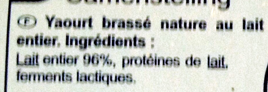 Yaourt Nature Brassé - Ingrédients - fr
