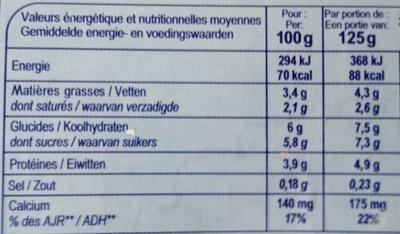 Yaourt Nature Brassé - Voedingswaarden
