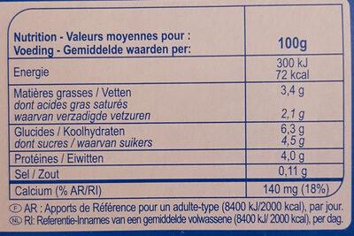 Yaourt Nature Brassé - Informations nutritionnelles - fr