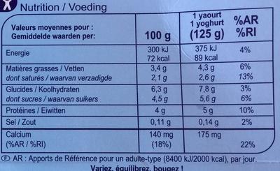 Yaourt Nature Brassé - Voedigswaarden