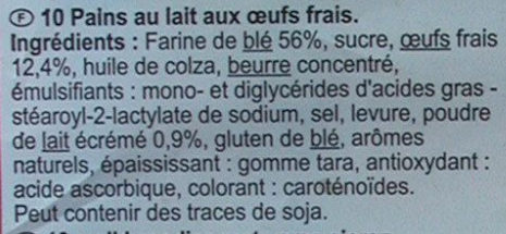 Pains au lait (x 10) - Ingredients - fr