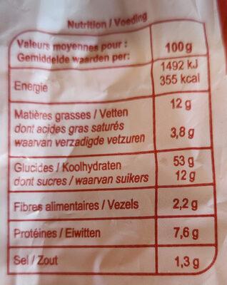 Pains au lait (x 10) - Informazioni nutrizionali - fr