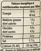 Lait demi-écrémé UHT - Informazioni nutrizionali - fr