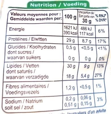 Emmental français râpé au lait cru Bio (30 % MG) - Nutrition facts