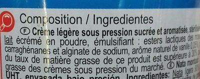 Crème légère fouettée sous pression - Ingrediënten