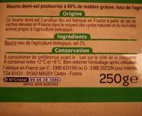 Beurre demi-sel bio - Ingredients - fr