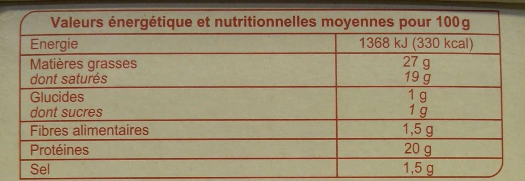 Le Pavé Ocre - Nutrition facts - fr