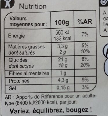 Crème caramel - Informations nutritionnelles - fr