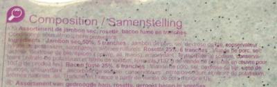 Assortiment Jambon sec, Rosette, Bacon - Ingrédients - fr