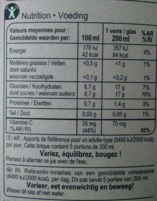 Jus d'orange sanguine - Nutrition facts