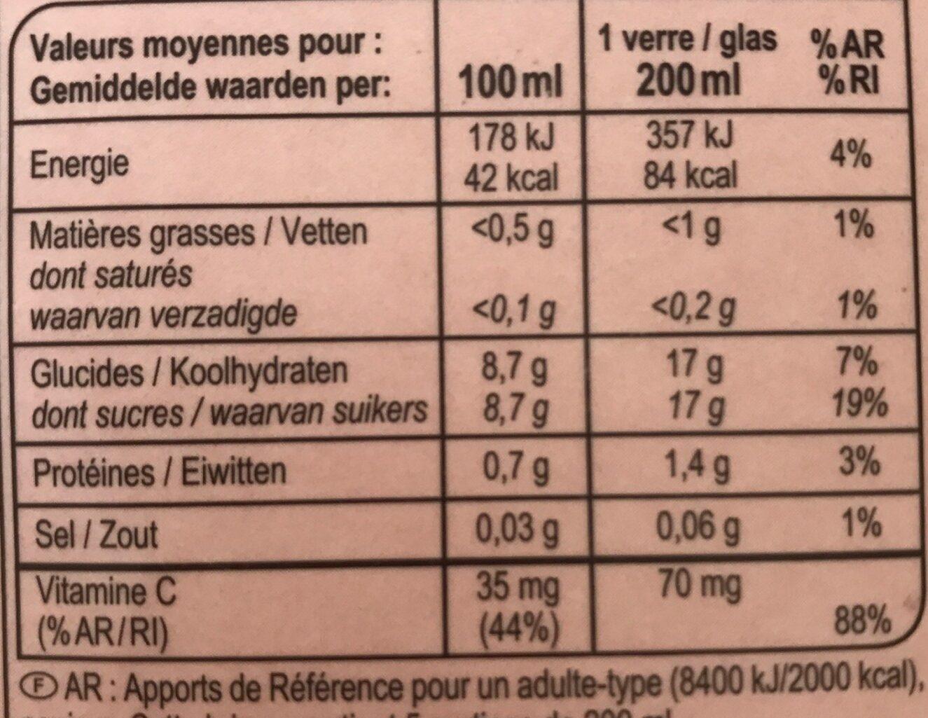 Jus d'orange sanguine - Valori nutrizionali - fr