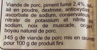 Chorizo Doux - Ingrédients - fr