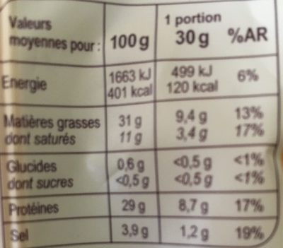 Chorizo Doux - Nutrition facts
