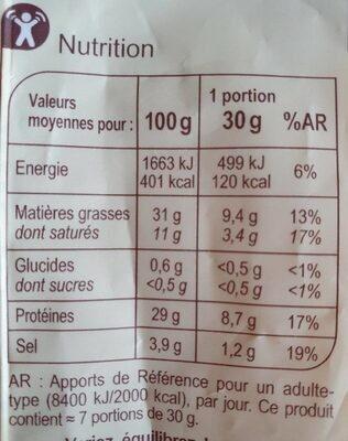 Chorizo Doux - Informations nutritionnelles - fr