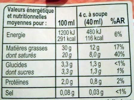 Crème fluide Entière - Informations nutritionnelles - fr