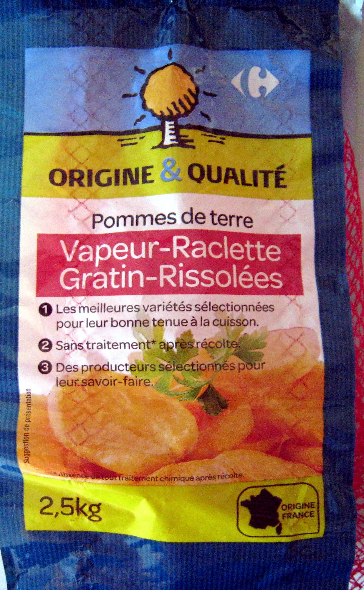 Pommes de terre vapeur raclette gratin rissol es carrefour 2 5 kg - Quantite pomme de terre raclette ...