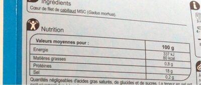 Cœoeur De Filet De Cabillaud, Pêché En Atlantique, - Informations nutritionnelles - fr