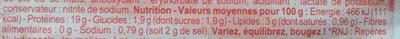 Jambon de Paris - Cuit à l'étouffée - Voedingswaarden