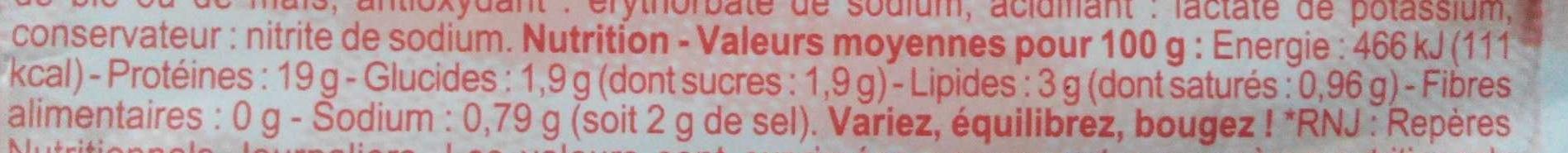 Jambon de Paris - Cuit à l'étouffée - Voedingswaarden - fr
