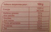 Muesli floconneux - حقائق غذائية - fr
