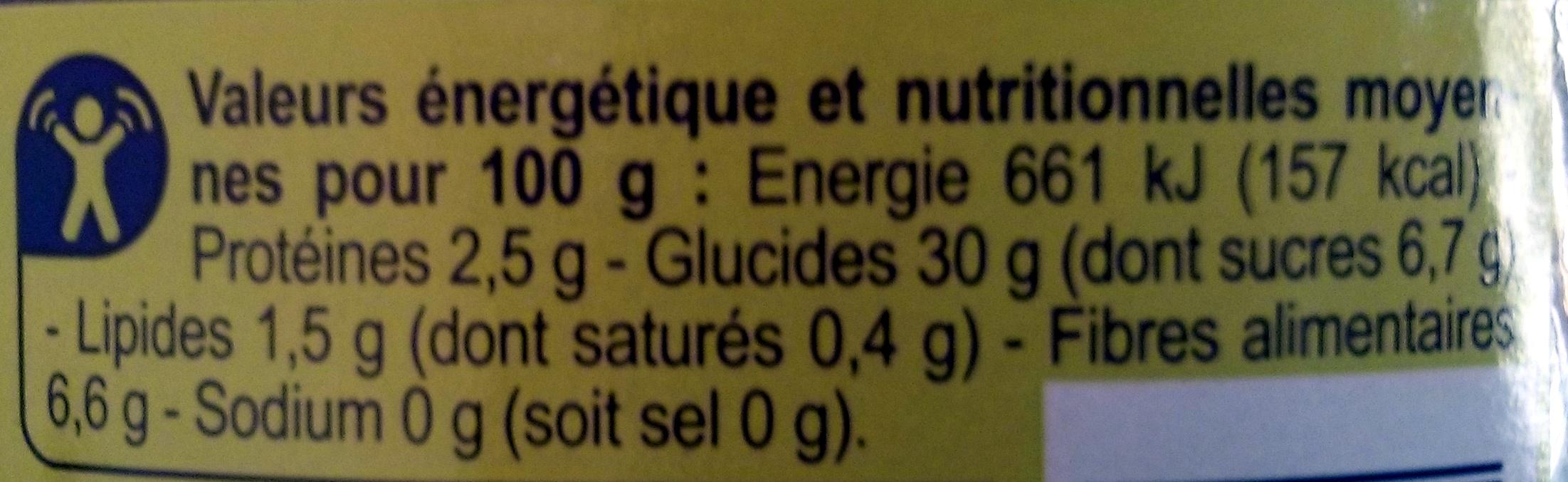 Châtaignes Pelées au feu - Informations nutritionnelles - fr