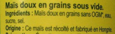 Maïs doux - Ingredients