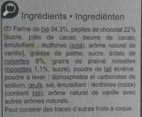 Cookies Choco Noisettes - Ingredientes