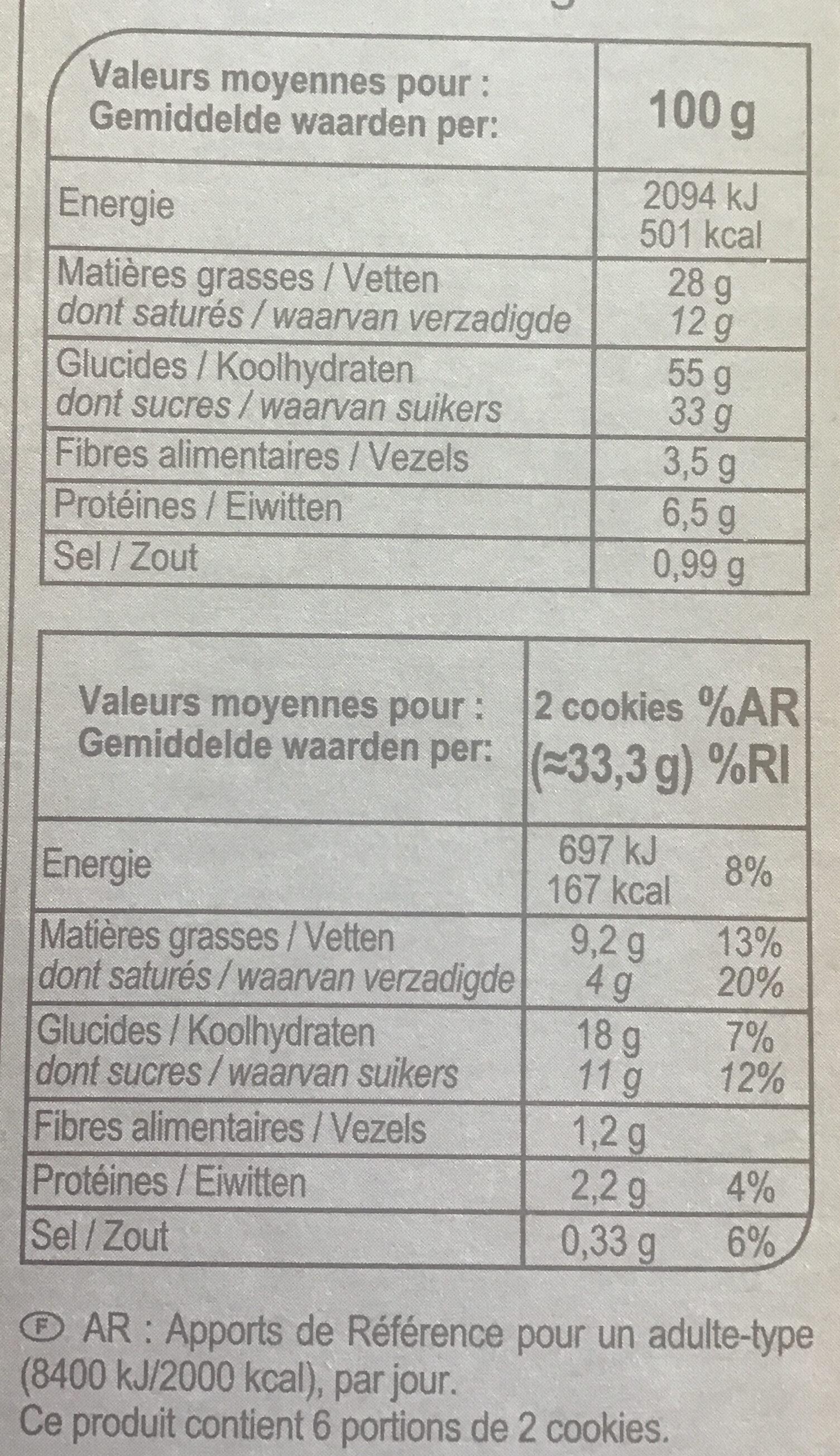 Cookies Choco Noisettes - Información nutricional - fr