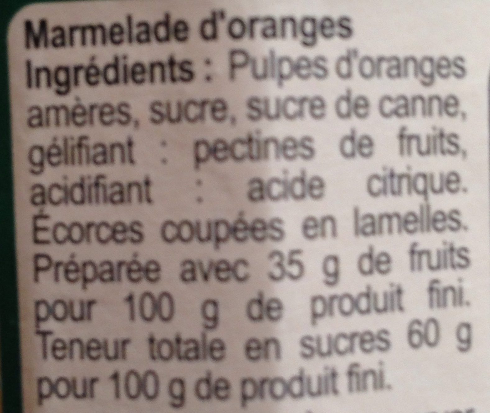 Marmelade orange - Ingrédients