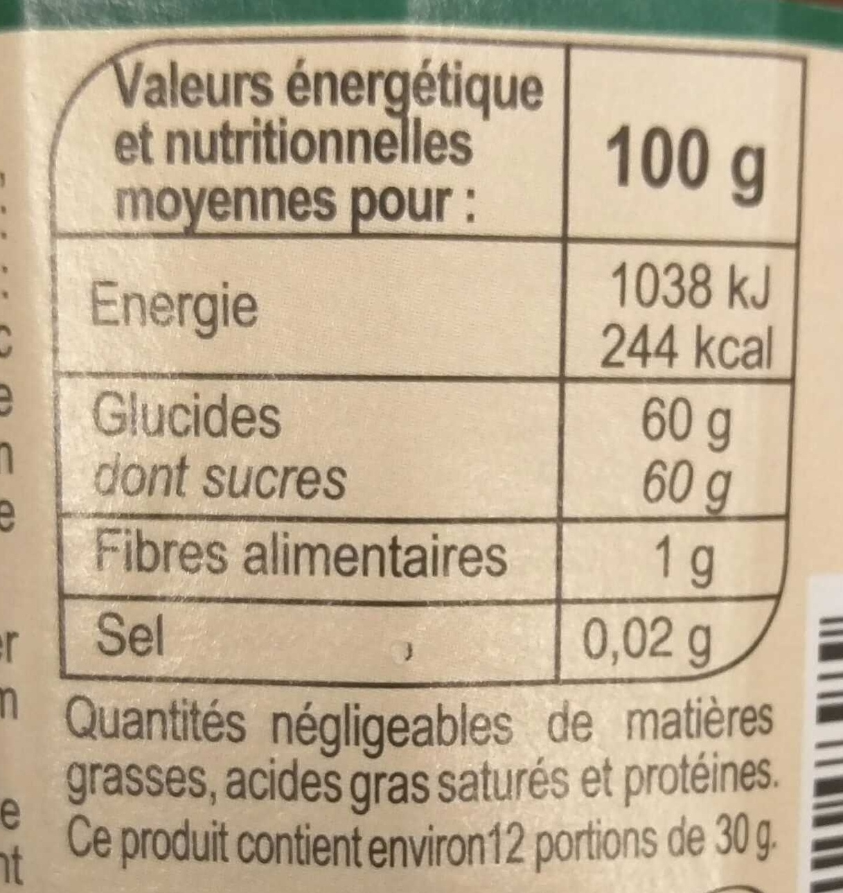 Abricot - Informations nutritionnelles - fr