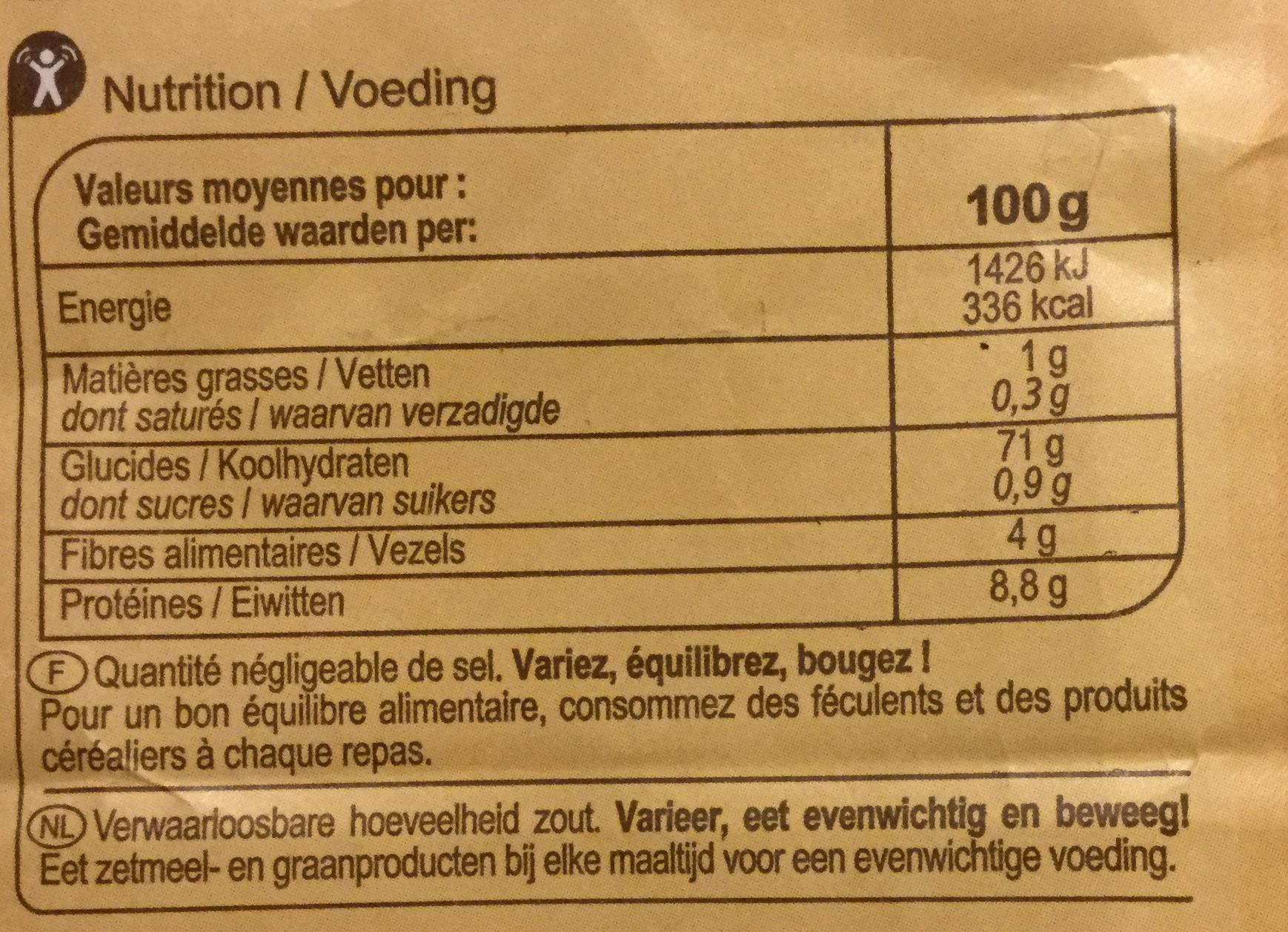 Farine de ble - Voedingswaarden - fr