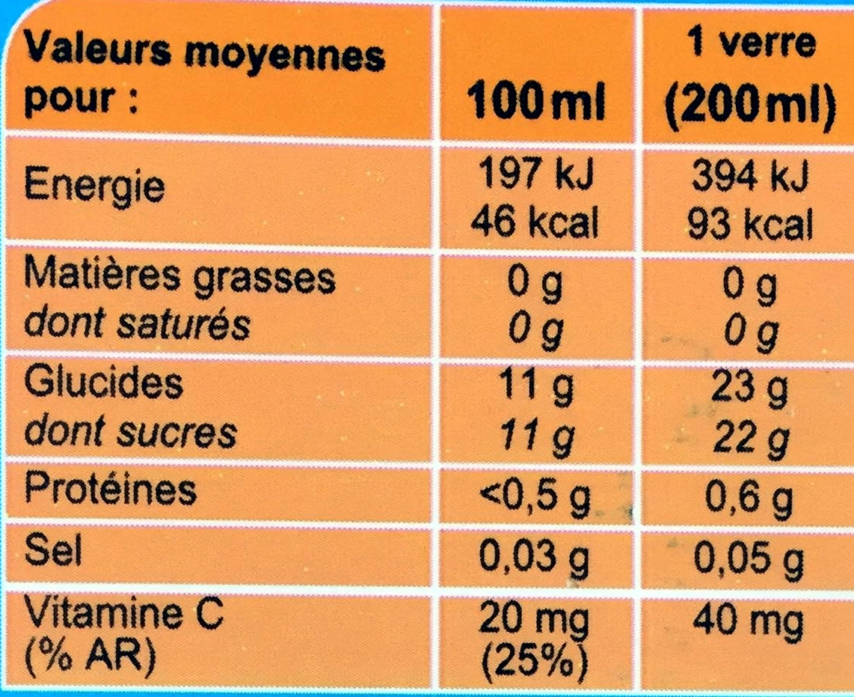 Nectar Orange à base de concentré - Voedingswaarden - fr