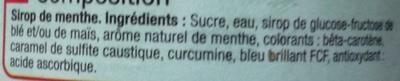 Sirop de menthe - Ingrédients