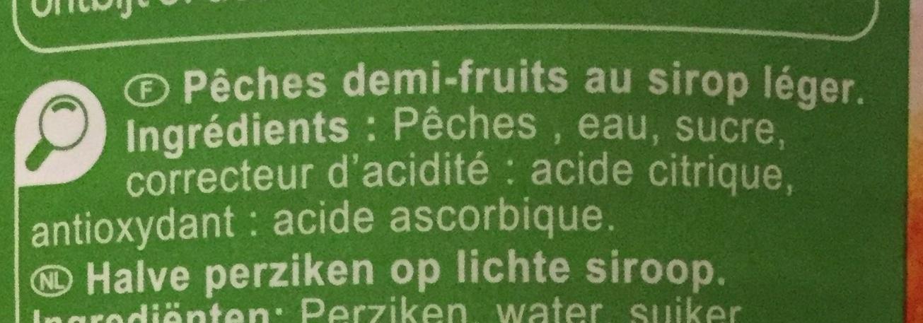 Pêches - Demi-fruits au sirop léger - Ingredienti - fr