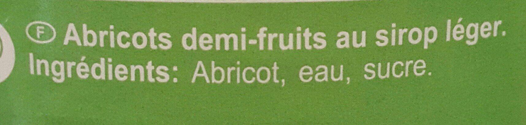 Abricots demi-fruits au sirop léger - Ingrédients - fr