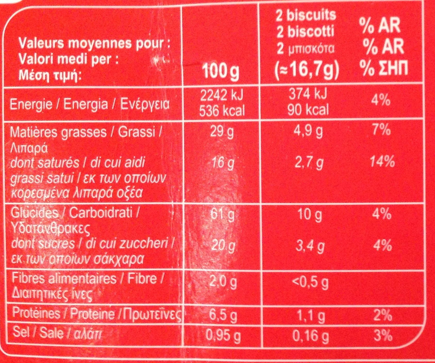 Les Palmiers - Información nutricional - fr
