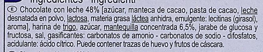 Galletas de mantequilla  tableta chocolate con leche - Ingrédients - es