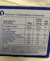 Galletas de mantequilla  tableta chocolate con leche - Informations nutritionnelles - es