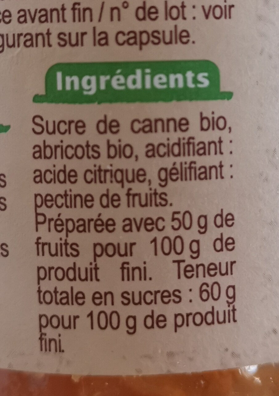 Confiture extra abricots - Ingredienti - fr