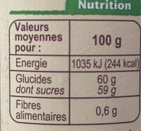 Confiture d'oranges au sucre de canne - Informations nutritionnelles - fr