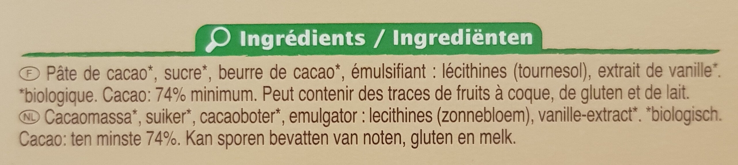 Chocolat noir 74% Cacao - Ingredients - fr