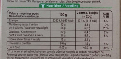 Chocolat noir 74% Cacao - Nutrition facts - fr