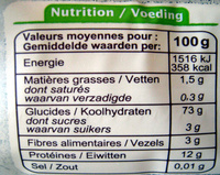 Spaghetti - Informations nutritionnelles - fr