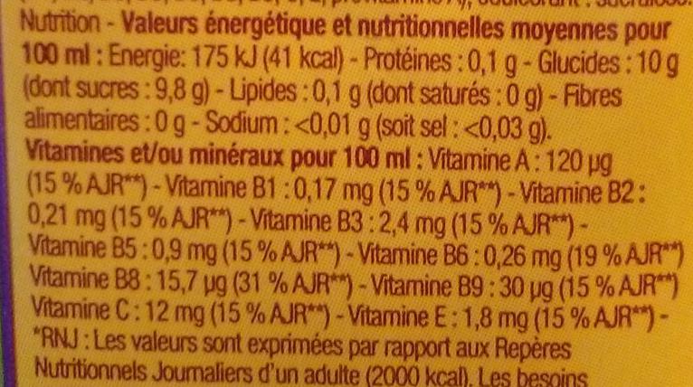 Multifruit, Nectar à base de concentrés - Informations nutritionnelles - fr